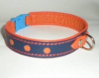 Blue and orange dog leather collar