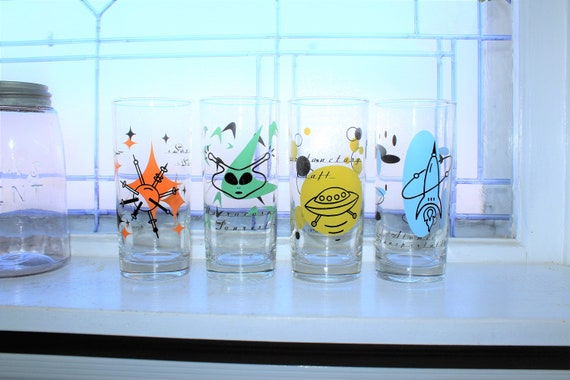 4 Atomic Age Style Tumblers Digware S/3 Galaxy Glasses