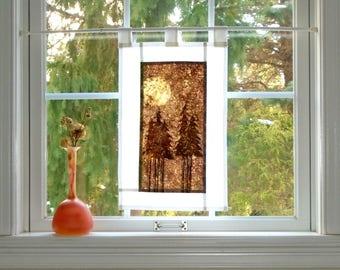 Moon Forest ~ Bleached Art Stained Glass Look Pojagi Batik Window Treatment  / bohemian cafe curtain / dorm / boudoir / hippie curtain