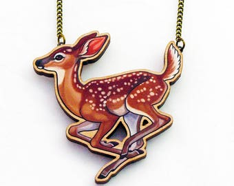 Deer Fawn Wooden Necklace