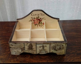 Shabby chic tea box, tea chest, flowers roses, tea labels, solid wood,handmade, ladies gifts removable compartments, table decor, storage