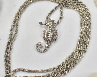 925 silver seahorse necklace with chain L385