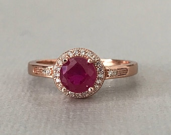 14K Solid Rose Gold Ruby Ring Rose Gold Halo Round Lab Ruby Simulated Diamond Engagement Wedding Promise Ring July Birthstone