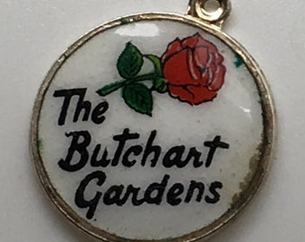 Butchart Gardens Victoria B.C Enamel  Silver Plate Charm Vancouver Island  Canada Rose Flower Tourist Attraction 925