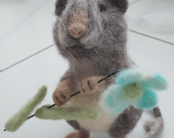 Needle felted wool handmade mouse with a flower