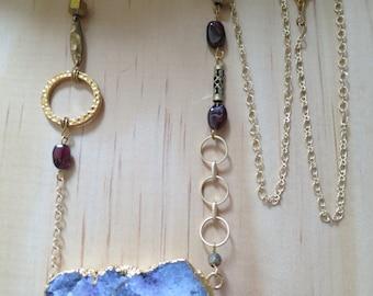 Garnet & Druzy Agate Necklace