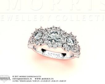 Three Diamond Halo Ring, Extraordinary Engagement Ring