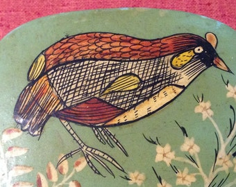 Antique Asian lacquered box with bird