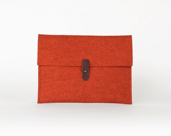 Orange Wool Felt Envelope Clutch   iPad Clutch