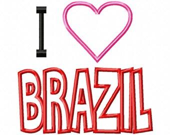 I Love BRAZIL - Heart Applique - Machine Embroidery Design - 9 Sizes