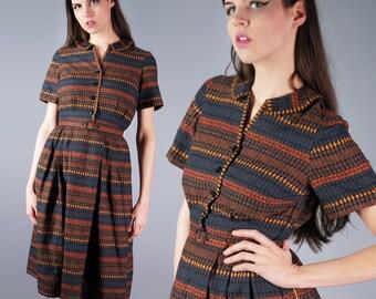 50s Brown Ethnic Print Shirt Dress