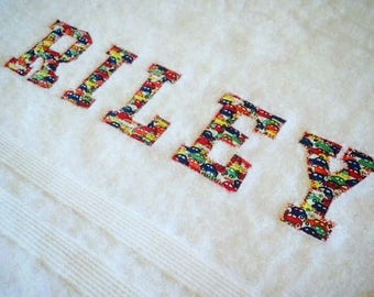 Personalised Bath Towel Custom made with Liberty Fabric,   Baby Gift, Baby Shower, Wedding Gift, Applique, 100% Eqyptian Cotton 600grms