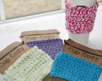 Coffee To Go Insulation Sleeve - Wrap for Travel Mugs - Cotton Coffee Sleeves - Your Color Choices - Patio Glasses Dining Outdoor Accessory