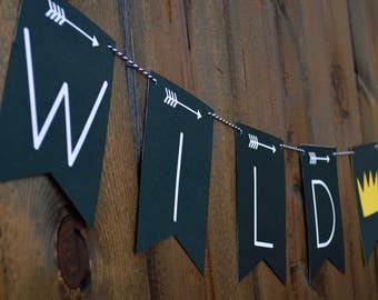 Wild One Banner - Wild One Birthday - Where the Wild Things Are Banner - Happy 1st Birthday Banner-Where the Wild Things Are Inspired Banner