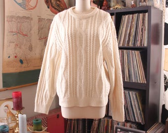 vintage 1970s chunky cream fisherman sweater . APPROX womens xl / mens large