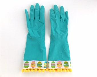 Designer Cleaning Gloves. Size Medium or Large. Easter Egg Dishwashing Gloves. Women's Rubber Kitchen Work Gloves. Easter Basket Gift Idea.