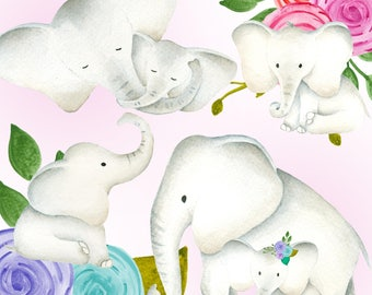 Cute elephant clipart, Baby & mama elephants clipart set, Elephant illustration, Watercolor elephant flower, Baby clipart, invitation