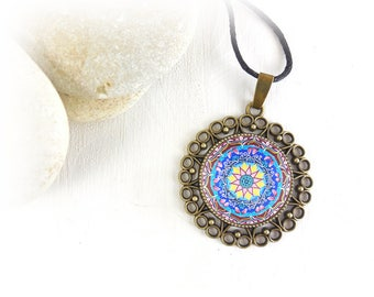 Dharma wheel pendant, mandala balance necklace, talisman for protection, yoga teacher gift under 15 dollars, emotional well-being support.