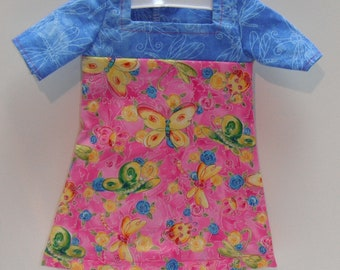 "Butterflies Dragonflies Flowers Square neck & three quarter Sleeve Knee Length Dress 18"" Doll Clothes"
