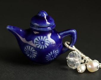 Cobalt Blue Teapot Necklace. Porcelain Tea Pot Necklace with Crystal and Fresh Water Pearl Charms. Royal Blue Necklace. Handmade Jewelry.