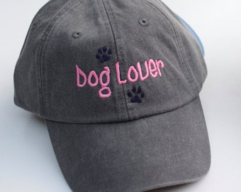 Dog Lover Baseball Cap || Embroidered Paw Prints Rescue Dogs Rock Hat || Dog Mom Monogram Gift by Three Spoiled Dogs Made in USA