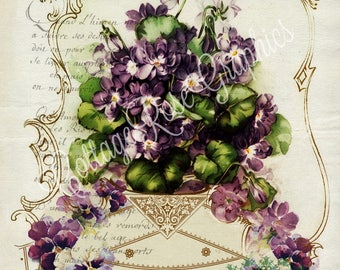 French violets Paris Journal LARGE format digital image download vintage violets pansy lavender Buy 3 Get one Free