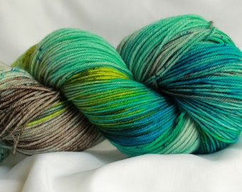 SAILED AWAY - Speckled super wash merino nylon sock 100 grams 463 yds 75, 25 free shipping