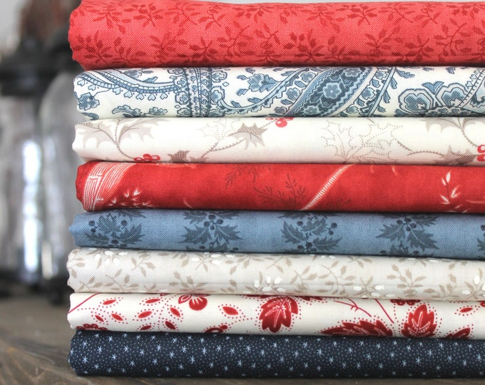 Holly Woods by 3 Sisters for Moda ~ 8 Fat Quarter Bundle ~ Holiday Florals ~