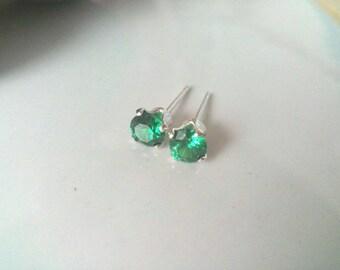 Emerald Green Cubic Zirconia Stud Earrings, 4mm Earrings, Sterling Silver Stud Earrings, Crystal Earrings, Gift for Her