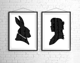 Alice In Wonderland The White Rabbit Silhouette Large Print Set Black and White Lewis Carroll Quote Literature