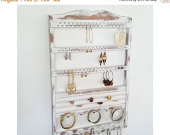 ON SALE Jewelry Holder, Ring Holder, Wall Mount, Earring Holder, Necklace Jewelry Organizer, Jewelry Rack, Bangle Bracelet White Shabby Chic