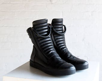 Leather Sneaker Boots  / Genuine Leather Shoes / Zipper Boots / Stylish Sneakers / Black Shoes / Marcellamoda - MS0984