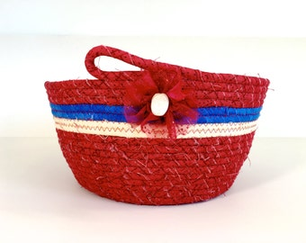 Coiled Rope Basket , Large Clothesline Bowl , Farmhouse Decor , Red White Blue Organizer , Patriotic Fiber Art  Independence Day, Handmade
