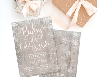 Pink Baby It's Cold Outside Girl Baby Shower Invitation, Prints, Winter Printed Invite, Farmhouse, Blush, White, Rustic, Snowflake