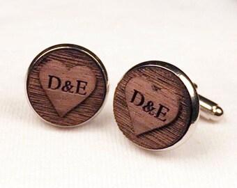 Engraved Wood Cuff Links, Wedding Cuff links, Groomsmen Cuff Links, Heart Initials Cuff links, Walnut Wood Silver Cufflinks, Gift