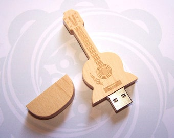 Wooden USB key shaped guitar 128 MB