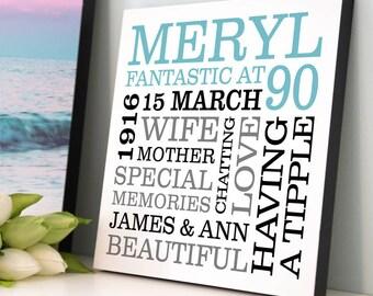Personalised 90th Birthday Typographic Art