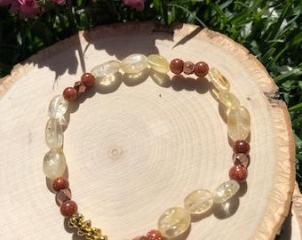 Citrine and Goldstone Bracelet