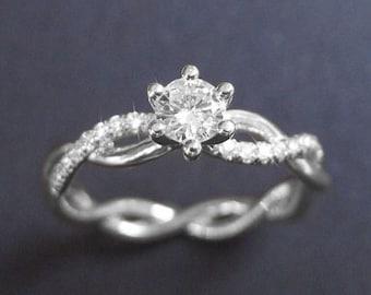 Infinity Knot Diamond Engagement Ring, Infinity Engagement Ring, Twisted Rope Diamond Engagement Ring, Infinity Braided Rope Diamond Ring