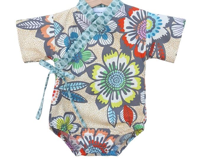 Baby Kimono Bodysuit - ACAPULCO - Japanese kimono onesie for baby and toddler