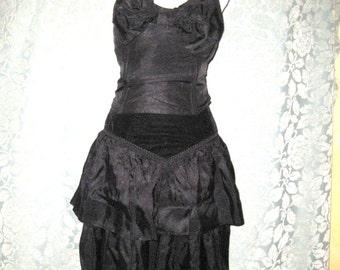 Vintage Black Tube Top, Matching High Waisted Velvet  Ruffled skirt, Made in the USA, Steampunk, Gabardine  fabric, 80s dress