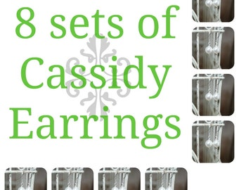 8 Ensembles de Cassidy Pearl boucles d'oreilles mariée, huit séries de demoiselles d'honneur perle boucles d'oreilles, boucles d'oreilles mariage, boucles d'oreilles mariées mariée cadeaux