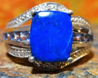 Signed sz9 5.60ct Ring Lapis Lazuli Tanzanite and 925 Sterling Silver