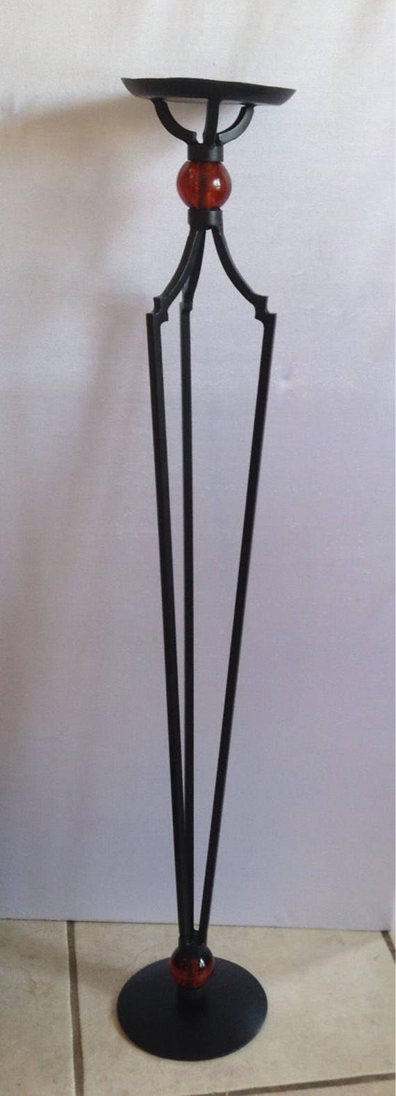 Wrought Iron Artwork Tall Wrought Iron Art Deco Decorative Floor Standing Candle