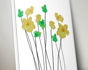 Green & Yellow Watercolor Flowers Wall Art Print- 11x14 PDF Instant Download