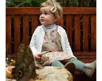 Grace- A handmade Liberty of London print romper / pinafore with matching head tie : Limited Availability