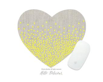Polka Dots Mousepad Linen Mousepad Yellow Polka Dots Mouse Mat Polka Mouse Pad Office Mousemat Heart Mousemat Polka Mousepad Round I162