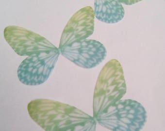 5 Green organza butterflies 50x36mm appliques
