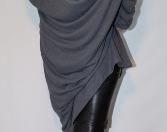 Loose long Gray Blouse/ Knitt Oversized Top/ Summer Sweater/Extra Long Sleeves / Extravagant Tunic/ F1358