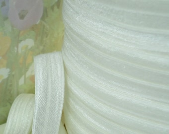 5yds Elastic Ribbon Fold Over White Shiny Baby HeadBands 5/8 inch FOE Stretch Trim white elastic by the yard